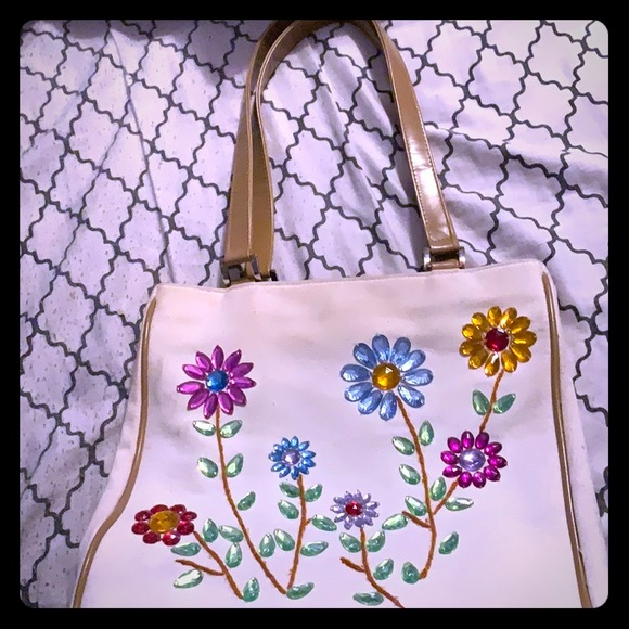 Bloomingdale's Handbags - Rhinestone Flowers purse w/ genuine leather